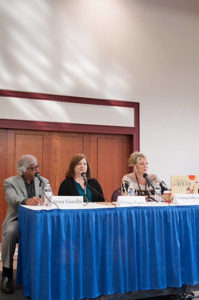 Moderating at 2014 Texas Book Festival with authors Arun Gandhi and Bethany Hegedus